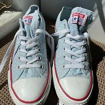 Converse All Star sz.9 Light Blue-Patterned Cotton Fabric Sneakers Photo