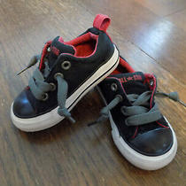 Converse All Star Toddler Sz 5 Sneakers No Time to Tie Black Red Padded Tongue Photo