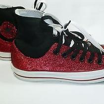 Converse All Star Women's Double Upper Hi Top Sparkly Sneakers Size 7 Euc Photo