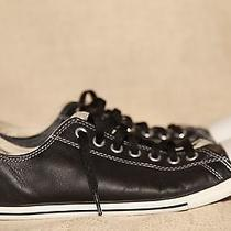 Converse All Stars Slim Black Leather Low Tops 113937 Mens 10 Sneakers Shoes Photo
