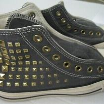 Converse Allstar High Tops/gold Studded Youth Size 6 Us Grey Canvas Chuck Taylor Photo