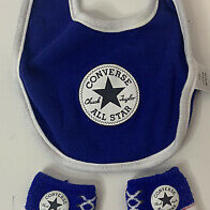 Converse Baby Boy Bib Booties Set Size 0-6 Month Infant Layette Accessories Blue Photo