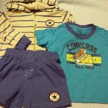 Converse Boys 3pc Set Zip Up Hoodie Jacket Shirt & Shorts Sz 12 Mos Nwt Photo
