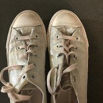 Converse Girls Junior Sneakers Silver Sparkle/iridescent Size 3 Us Guc Photo