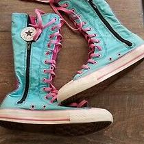Converse Girls Tall Knee High Boots Sneakers Shoes Youth Size 4 Lauren Teal Pink Photo