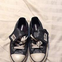 Converse Glittered Black Low Tops With Fold Over Tongue Size 12 Photo