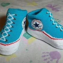 Converse High Top Chuck Taylor All Star Blue Baby Shower Booties Socks 0-6 Mos Photo