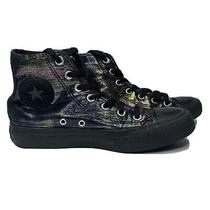 Converse High Tops Womens Sneakers Black With Metallic Shine Size 6.5 Photo