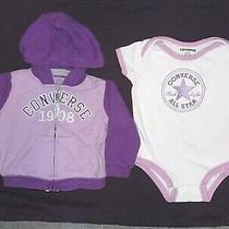 Converse Infant Girls Purple White 2 Pc Hoodie Sweatshirt Shirt Outfit 6-9 Month Photo