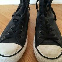 Converse Leather High Tops Black Womens Size 9 Photo