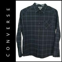 Converse Men Button Down Plaid & Check Dress Shirt Size Extra Large Blue Photo