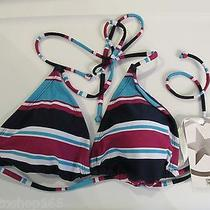 Converse Navy Stripe Triangle Halter Bikini Swim Top Medium Nwt Free Ship Photo