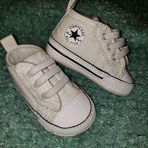 Converse Newborn Crib Booties White First All Star Baby Shoes Size 1 Photo