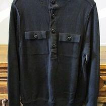 Converse One Star Mens Medium Black Half Button Long Sleeve Cotton Knit Sweater Photo