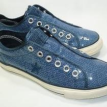 Converse One Star Women's Laceless Blue Sequin Sneakers Size 7 Euc Photo