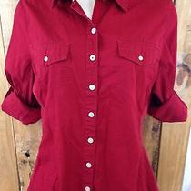 Converse Red Women's Button Down Long Sleeve Shirt Size Medium.  Free Shipping Photo
