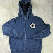 Converse Sweater Large Blue  Chuck Taylor Zip Up Hoodie Cotton Shipped Promptly  Photo