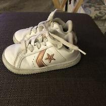 Converse Tennis Shoes Sneakers White With Rose Gold  Girls Size 8 Photo