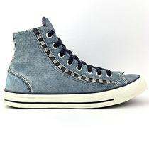 Converse Womens High Top Studded Suede Denim Sneakers Size 10 Blue 537085c Photo
