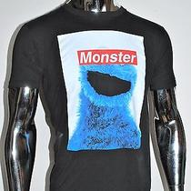 Cookie Monster Black T-Shirt  Mustache 3r Gade Size M Urban Outfitters Photo