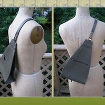 Cool Vintage Guess Olive Green Triangle Backpack Smooth Faux Leather Crossbody Photo