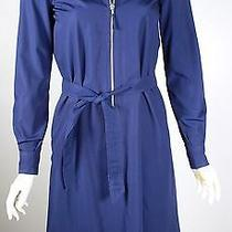Cool Vintage Halston Navy Blue Cotton Zip Front Dress 70's/80's Photo