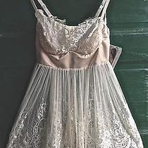 Coquette Baby Doll Ivory/blush Lace Lingerie With Thong Size S Photo