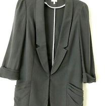 Coquille  Anthropologie Size 6 Gray Silk/cotton 3/4 Pleat Accent Jacket Photo