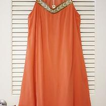 Coral Beads Embro Detail Dress M W/ Anthropologie Earrings Photo