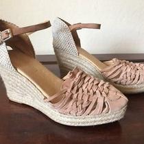 Cordani Emilio Woven Wedge Espadrille Blush Pink Suede Sandals Size 39 Photo