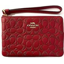 Corner Zip Wristlet in Signature Leather Glitter Logo Red F88085 Photo