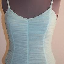 Cosabella Tank Top Cami Camisole M Light Blue Ruched Nylon New Italy Free Ship Photo