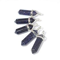 Cosmos Blue Sandstone Crystal Stone Necklace-Boho Vintage Silver -Healing Quartz Photo