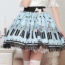 Cosplay Sweet Love Lolita Vintage Elegant Fantasy Piano Kawaii Cute Skirt (Blue) Photo