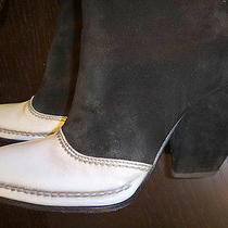 Costume National Black and White Suede Boots Sz 39eu/8.5us Photo
