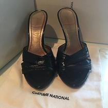 Costume National Black Patent Leather Slide Mule Shoes Ciabatta Size 7.5   37.5 Photo