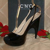 Costume National Black Patent Slingback Sandal Sz 41 or Sz 10 Us Nib Photo