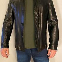 Costume National Men's Minimalist Black Leather Jacket. Sz 52 Italy / 42 Usa. Photo