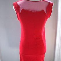 Costume National  Red Mini Dress  Sheer Neck  Must See  Silk   Photo