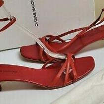 Costume National Shoes Ankle Strap Size 8.5 Red Retail 265.00 Kitten Heels 2