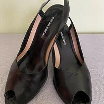 Costume National Slingback Peep Toe Leather Shoes 38 1/2 Made in Italy Photo