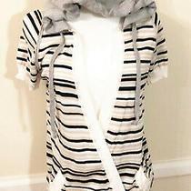 Costume National Striped Light Cotton Knit Hoodie Sweatshirt Top Size M  Photo