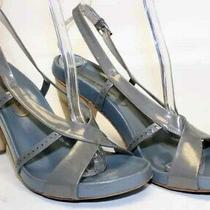 Costume National Women's Size 38.5 Leather Slingback Shoes Gray Italy Made  Photo
