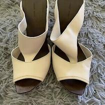 Costume National Womens 7.5 38 Leather Italy Made Pointed Heel Shoes Beige Photo