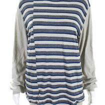 Costume National Womens Long Sleeve Striped Shirt Beige Gray Cotton It 38 Ll19ll Photo
