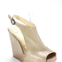 Costume National Womens Sandals Size 39 Beige Leather Platform Slingbacks Photo
