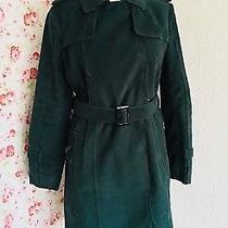 Costume National Wool Trench Coat Dark Green Distressed Look Uk16 Eu42 Us12  Photo