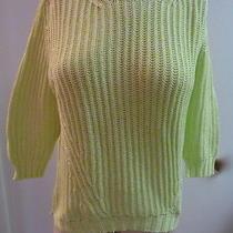 Cotton by Autumn Cashmere Chartreuse Large 100% Cotton Sweater R034 Photo