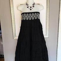 Cotton Express Boho Peasant 100%Cotton Dress Skirt Flare Summer Silver Juniors S Photo