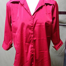 Cotton Express Bright Red Button Down Shirt Plus Size 1x Photo